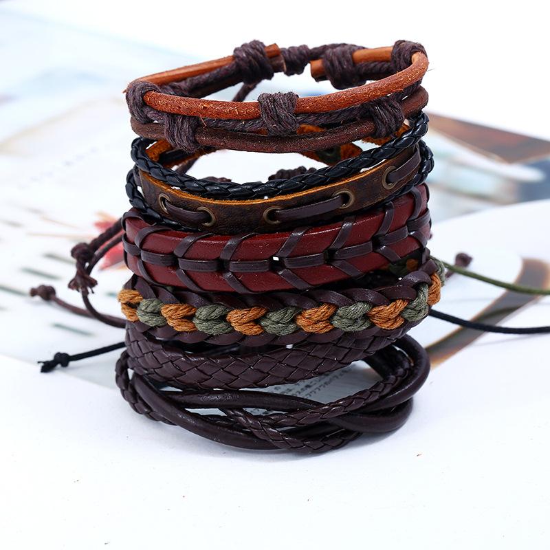 Leather Fashion Geometric bracelet(Six sets) NHPK2007-Six sets