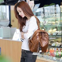 双肩包女 18?#21512;?#26032;品韩版潮时尚百搭小熊挂件软皮背包 休闲旅行包