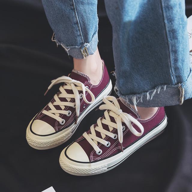 名將新款時尚休閑帆布鞋平底舒適女鞋,韓版潮鞋女經典帆布鞋女0718