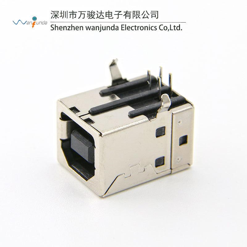 90度卧式插板B型USB母座 B母 打印机接口 方口usb接口座子