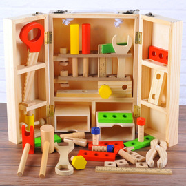 Wooden Simulation DIY Portable Toolbox Boy Wood maintenance set Children teach early to learn how to add Toys