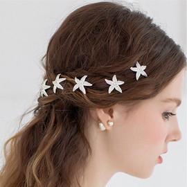 Alloy Starfish Hairpin Hairpin Bridal Hair Accessories U-Clip Pins Super Flash Water Drill Accessories Source