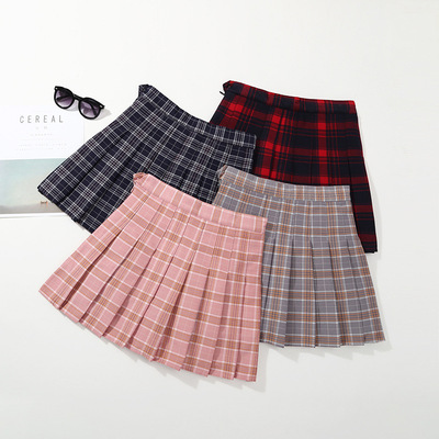 Children big girl Plaid Skirt baby waist skirt children pleated skirt performance dress
