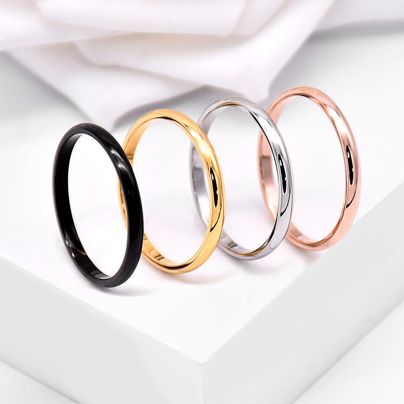 跨境配饰简约情侣戒指 细钛钢18K金玫瑰对戒指环不锈钢饰品礼物