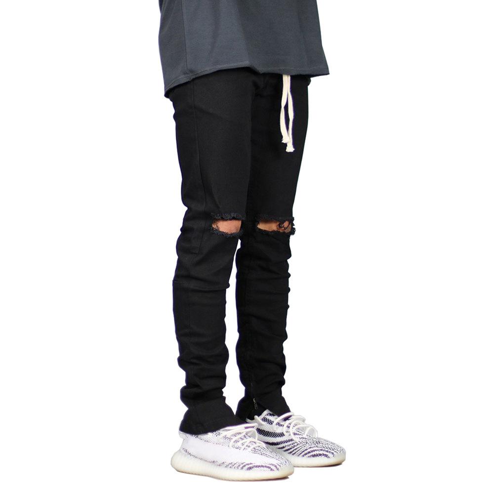 欧美高街时尚潮流大破洞男牛仔裤系带黑色男牛仔裤