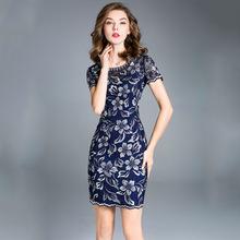 高端连衣裙夏2018新款欧美女装中年人时尚品牌大码妈妈装一件代发