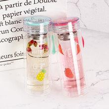 创意时尚韩式广告礼品杯 双层水果玻璃杯 高硼硅糖果色玻璃杯