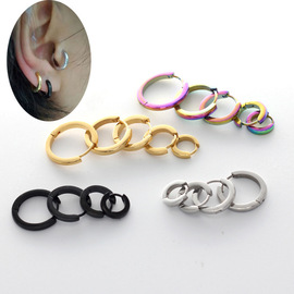 Influx of people street dance narrow face earrings earrings round face ear buckle boys and girls fashion personality ear bone ring