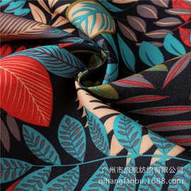 厂家直销帆布箱包背包专用面料植物花丛树叶印花环保印花帆布批发
