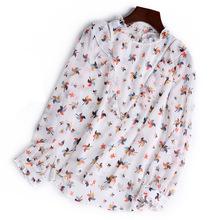 苏苏亚2019年春装新款拼接印花雪纺T恤衫上衣气质女式长袖衬衣
