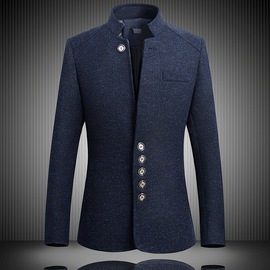 Spring and Autumn Men's fit suit Leisure small suit tiled British Gentlemen's standing collar Jacket Men's Wear