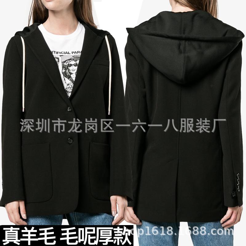 冬装简约时尚连帽毛呢外套直筒长袖黑色羊毛西装大衣OL通勤百搭女