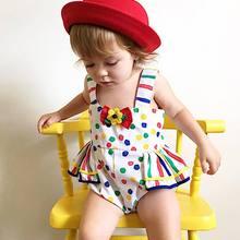 婴儿连体衣跨境夏季彩色圆点吊带哈衣欧美童装荷叶边女童连体爬服