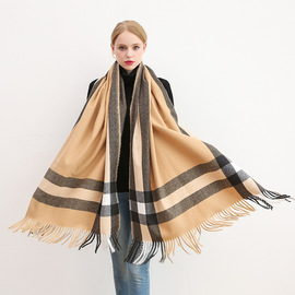 New  autumn and winter ladies plaid pure cashmere scarf men's British gram warm winter cold scarf