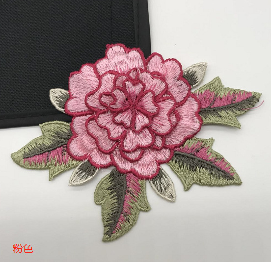 Peony embroidery flower DIY clothes cloth applique patch stickers NHLT174246