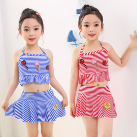 New children's swimsuit girls fashion three-dimensional embroidered lovely small middle school children split skirt swimsuit factory