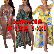 S3283[Green sold off the shelf] Fashion sexy spring and summer models printed cloak + bikini two pieces 1