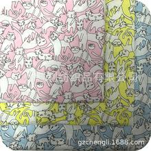 全棉平纹印花 动物小花猫 ?#20449;?#34924;衫印花面料 夏童装连衣裙印花布
