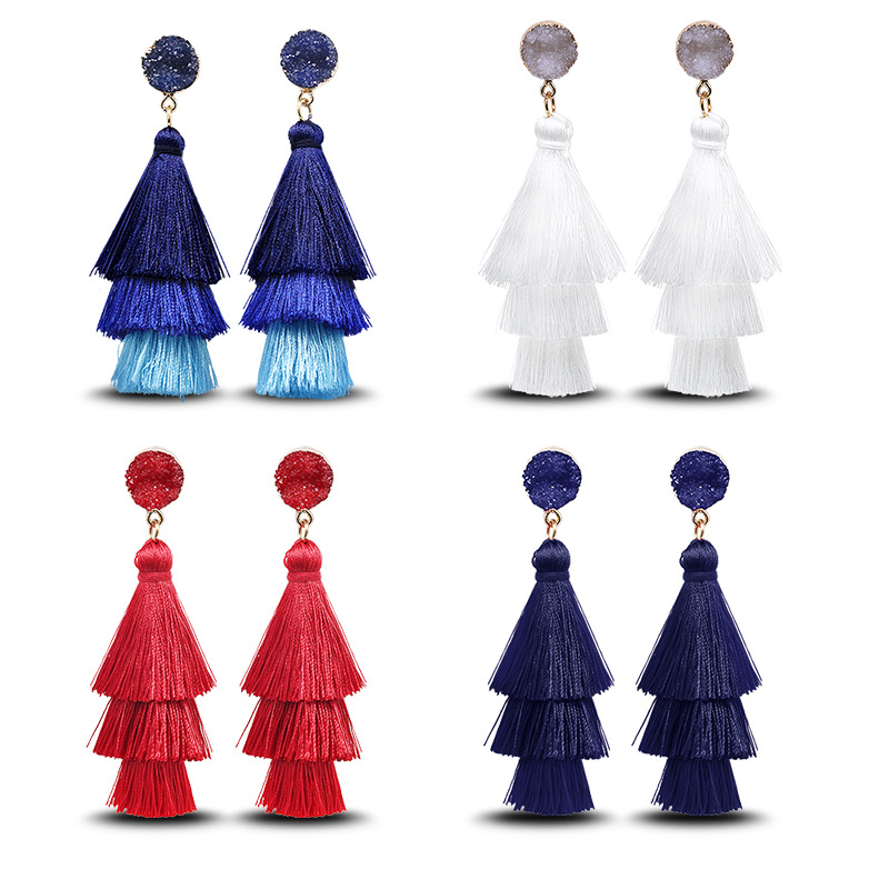 Vintage ethnic style crystal cluster gradient tassel earrings NHDP149395