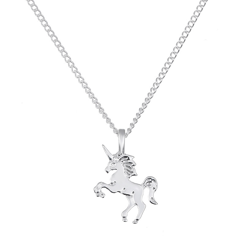 cute little unicorn electroplating gold silver animal horse womens alloy necklace clavicle chain NHMO245562