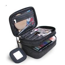 2018菱格女士迷你行李箱化妝包創意款黑色尼龍防水洗漱包廠家直銷