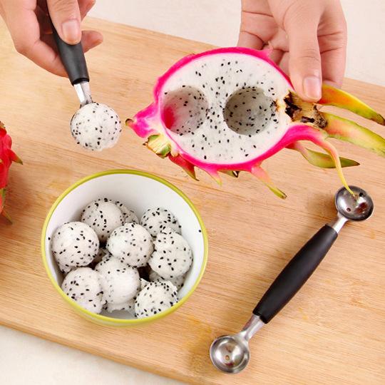 创意不锈钢双头挖果器切西瓜水果挖球器冰淇淋勺子雕花刀切果器