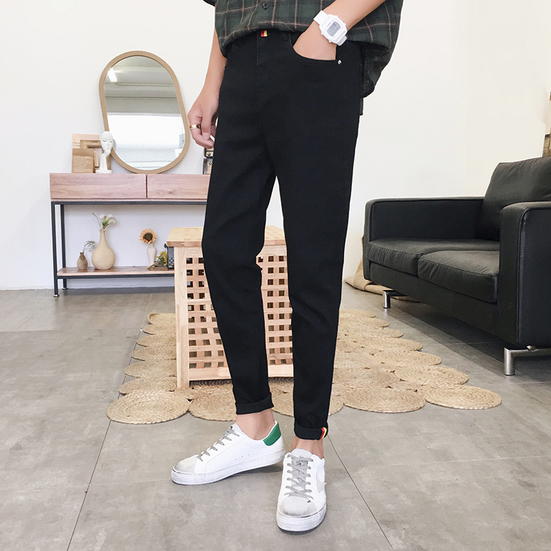 Spring And Summer New Men's Jeans Youth Stretch Slim Small Feet Trousers Korean Casual Denim Trousers Black