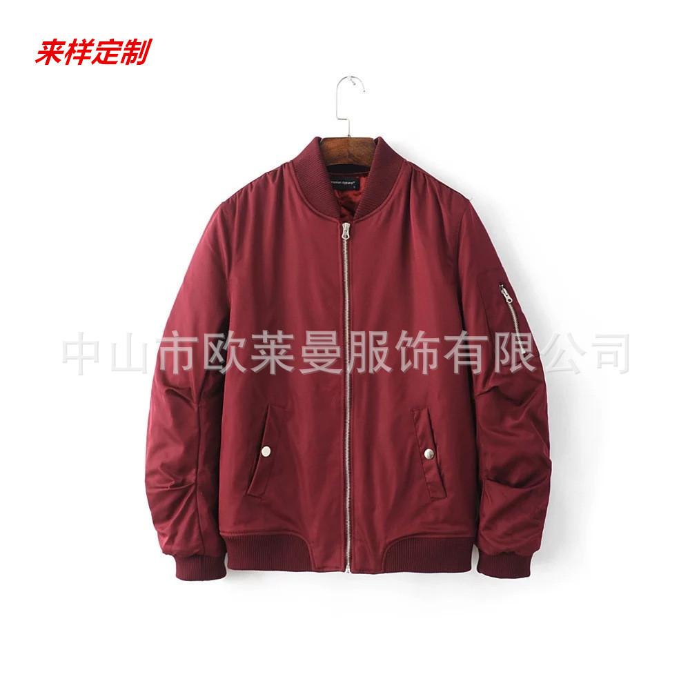 中山厂家定制飞行员夹克男立领棒球服男士棉服大码棉衣加厚外套