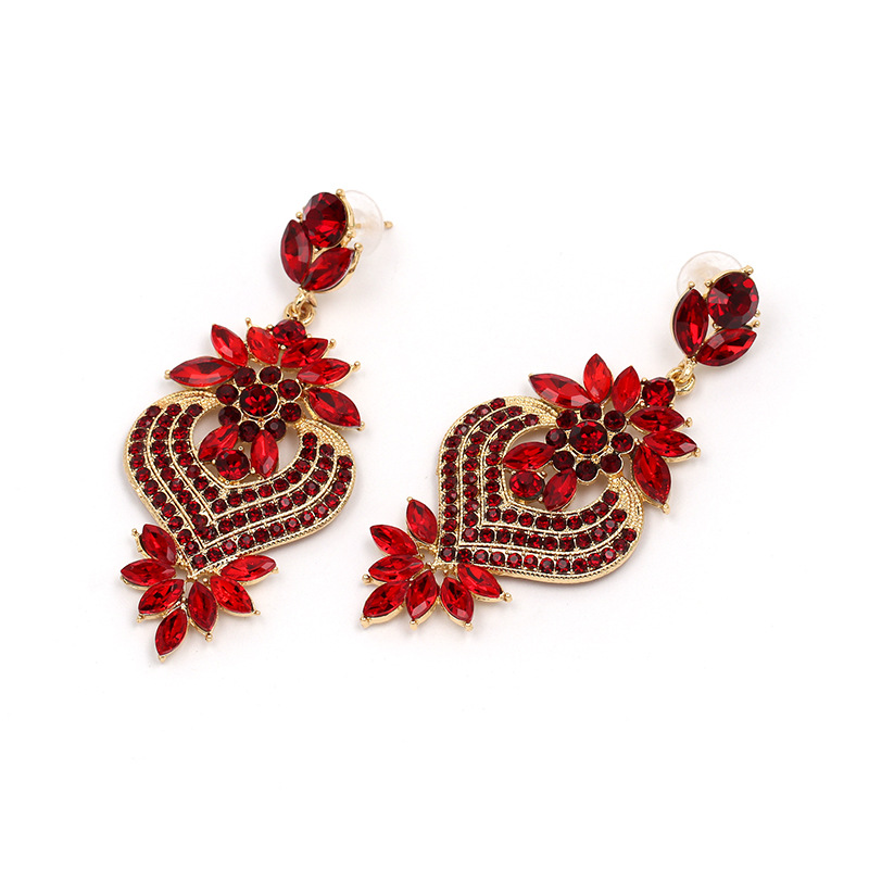Crystal&CZ Fashion Geometric earring(red) NHJJ4953-red