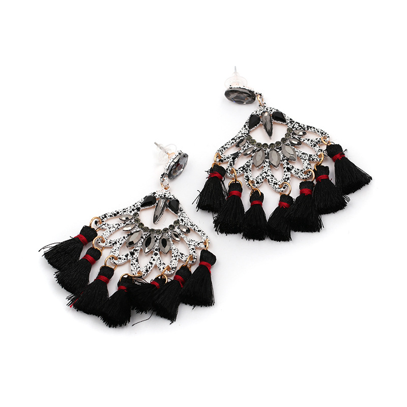 Alloy Fashion Tassel earring  (black) NHJJ5287-black