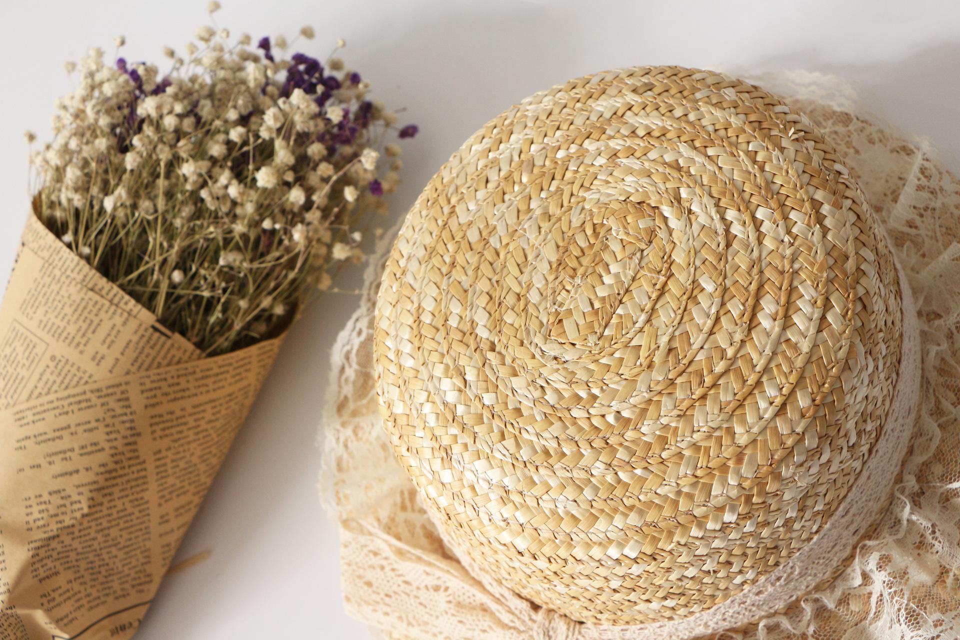 Summer lace bow straw hat new wild straw hat outdoor sun hat NHTQ206930