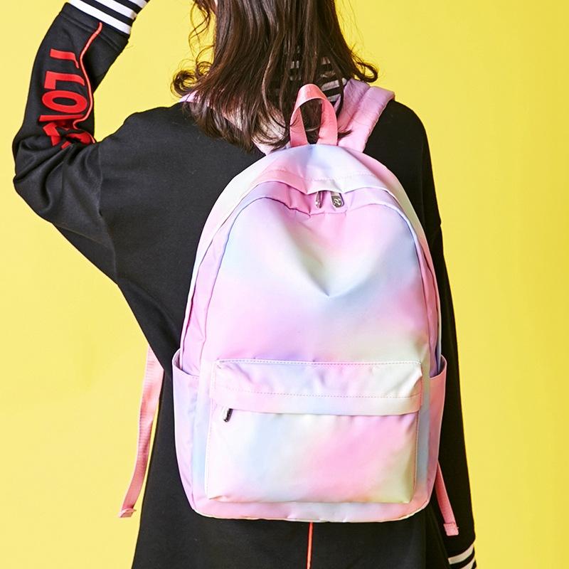 伊台秀 新款女生防水涤纶书包撞色小清新双肩包高中学生休闲背包