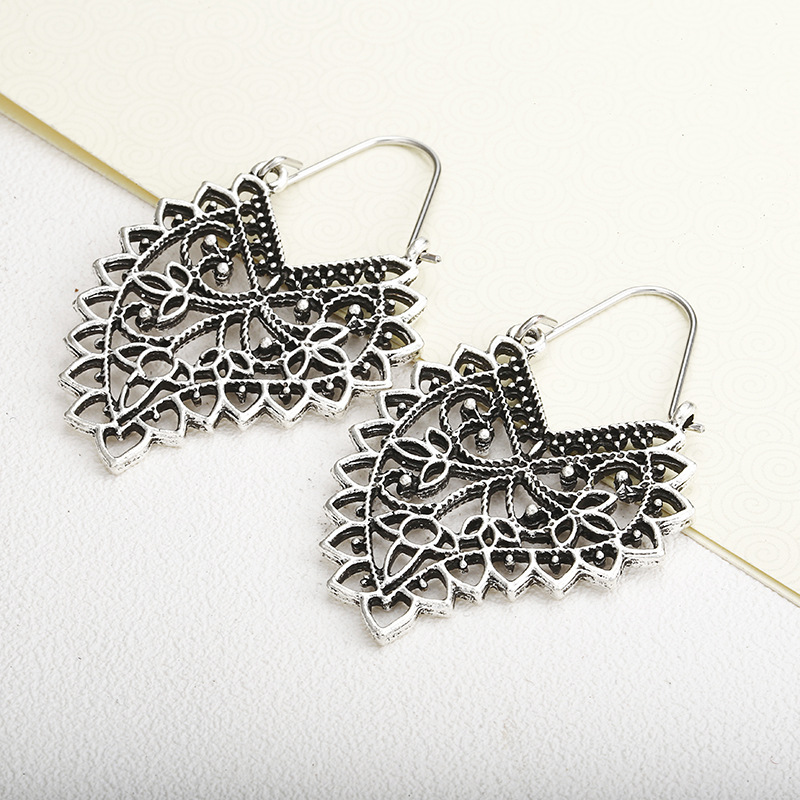 Ancient silver openwork pattern alloy hoop earrings NHPF151865