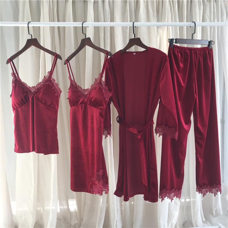 New South Korean velvet Pajama women's fall and winter suspender pajama set soft and comfortable home clothes four piece set