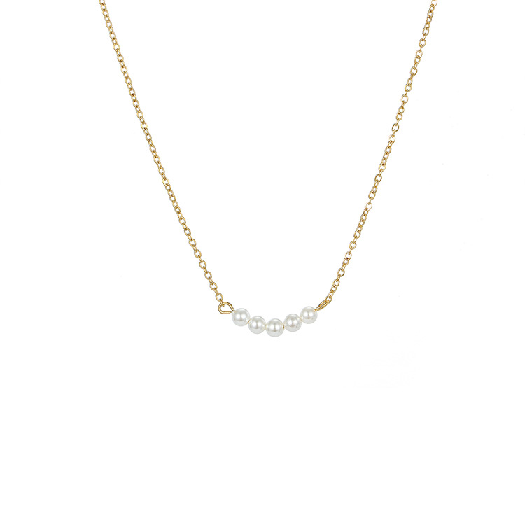 hot sale jewelry necklace simple and delicate stainless steel necklace short paragraph pearl necklace wholesale nihaojewelry NHTF222244