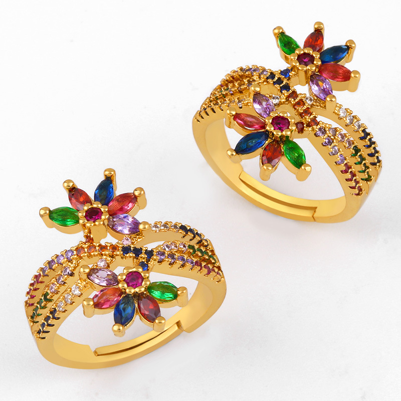 Copper inlaid zircon color flower opening ring NHAS150824