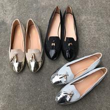 出歐美原單女鞋時尚百搭經典款英倫風平底單鞋流蘇女鞋