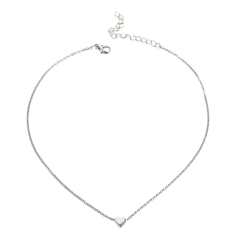 Simple metal alloy heart necklace NHPF152775