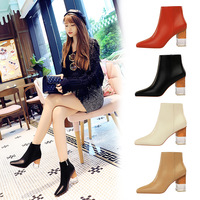 298-1 Euro-American fashion, sexy and slim nightclub women's boots transparent crystal heels, high heels and square-headed boots