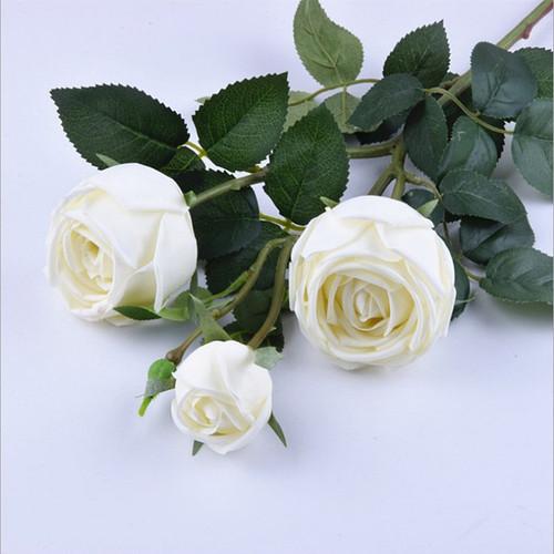 Artificial flowers 3 moisturizing roses Wedding home silk flowers high-end decorative artificial flowers feel moisturizing roses