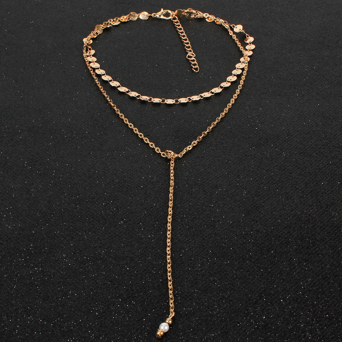 Simple Volkswagen Double Layer Necklace Sequins Long Tassel Necklace NHCT177366