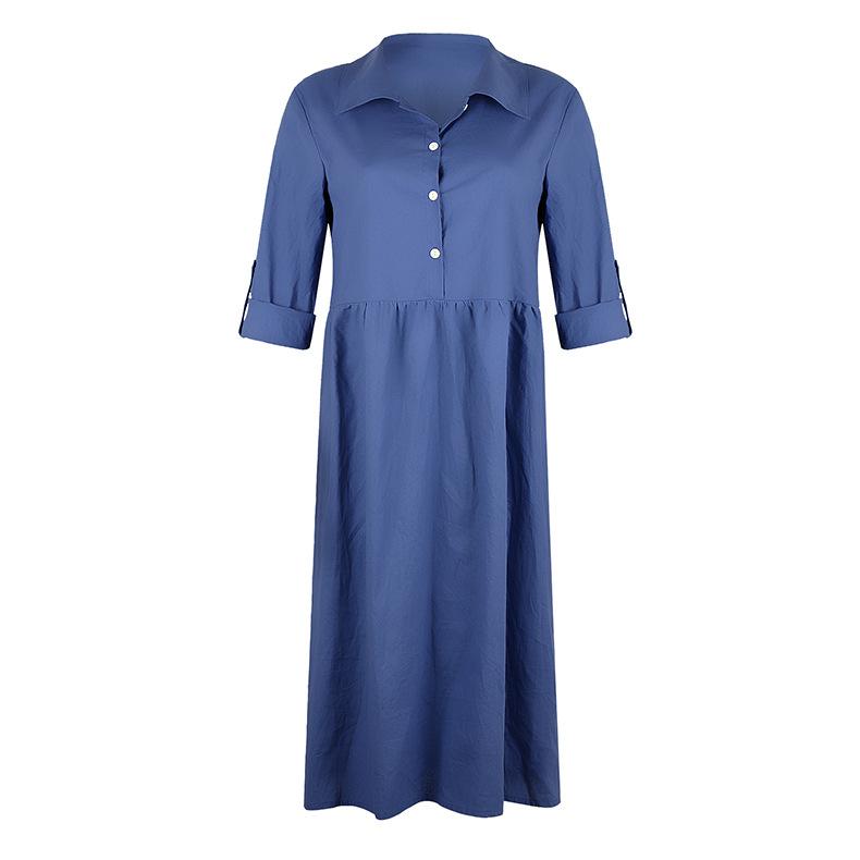 new women's loose button mid-length dress  NSKX6215
