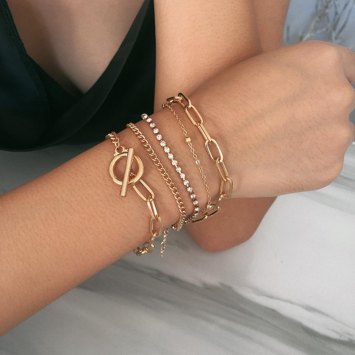 Creative mix and match diamond beads multi-layer bracelet NHXR171361