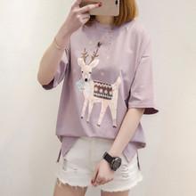 浅紫色t恤短袖女小鹿印花宽松学生韩版白色上衣百搭潮流夏季