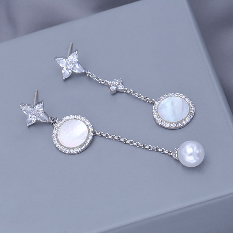Fashion personality mother pearl silver needle ear studs NHDO158514