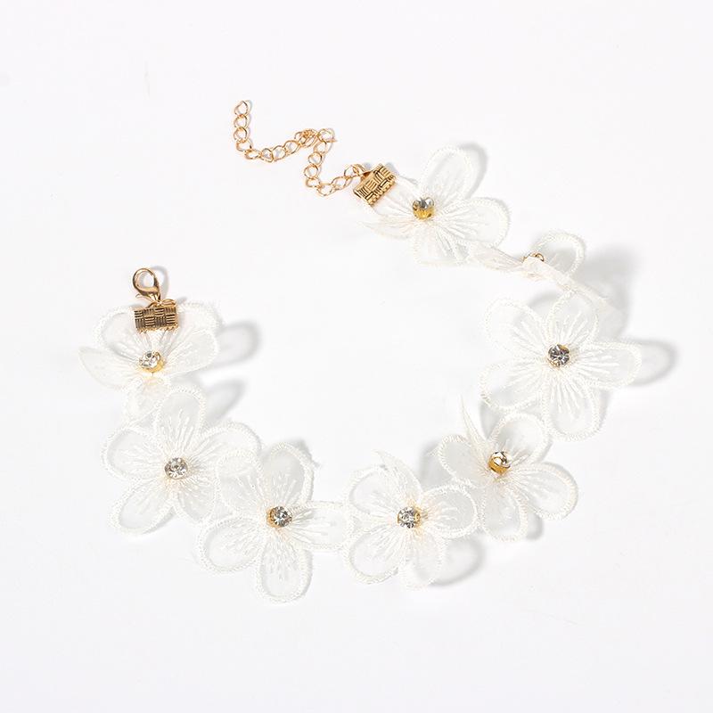 Hot selling fashion rhinestone flower necklace pearl choker necklace wholesale NHRN260417
