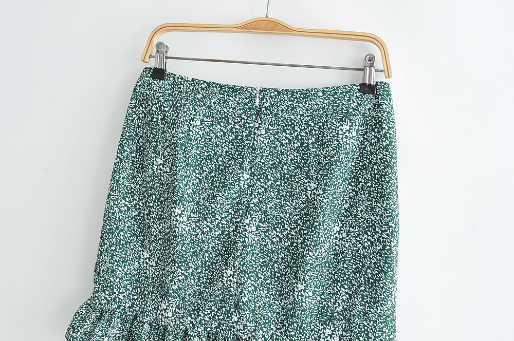 Vintage print tube top knotted top with high waist lace skirt NHAM151565