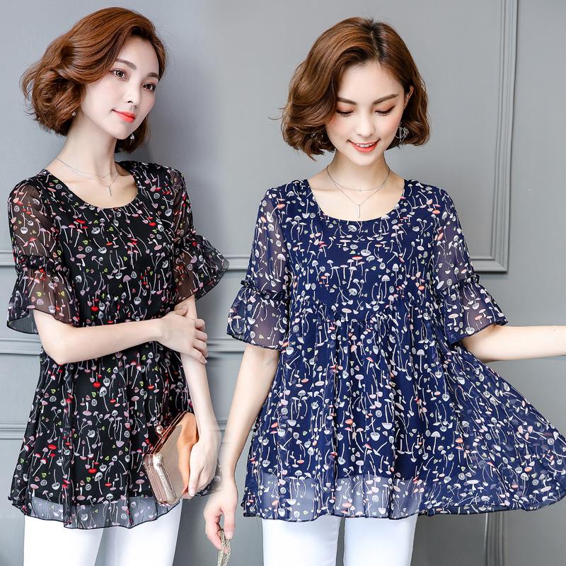 2019夏季新款韩版女装大码宽松印花碎花雪纺衫女短袖上衣小衫