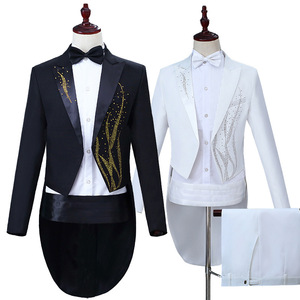 men's jazz dance suit blazers Men performance dress hot seaweed color diamond tuxedo black and white magician bel canto conductor suit