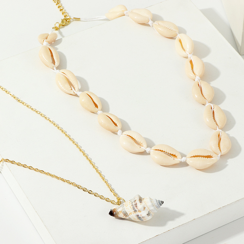 Womens conch plating alloy natural shell conch Necklaces NHNZ122119
